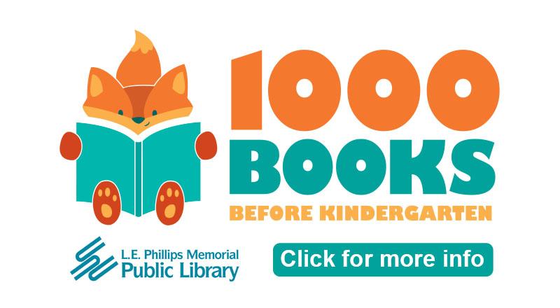 1000 Books Before Kindergarten. Graphic of orange fox holding blue book.