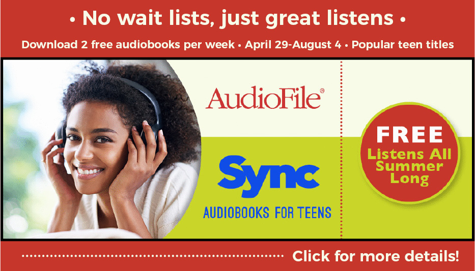 Image: Smiling tenage girl of color with headphones on. AudioFile Sync Audiobooks for Teens. Free Listens all summer long. Click for more details!