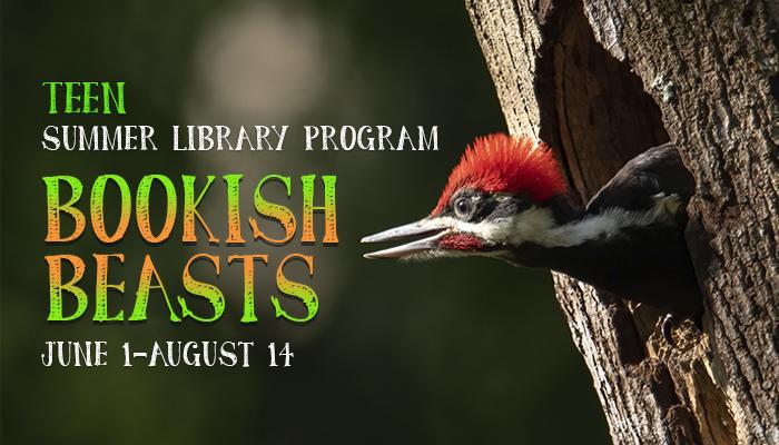 Woodpecker peeking out of a tree. Teen Summer Library Program: Bookish Beasts. June 1-August 14.