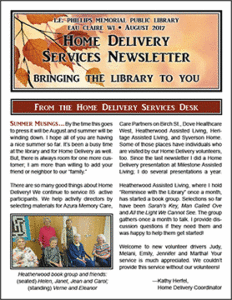 Home Delivery Services Newsletter: August 2017