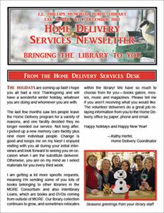 Home Delivery Services Newsletter: December 2017