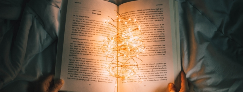 Open book with fairylights