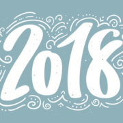 Hand drawn lettering greeting card with calligraphy for 2018 Happy New Year