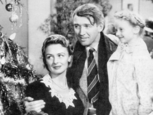 """George, Mary and Zuzu Bailey in """"It's a Wonderful Life"""""""