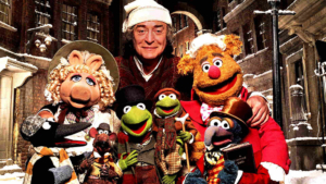 """Michael Caine with The Muppets in """"The Muppet Christmas Carol"""""""
