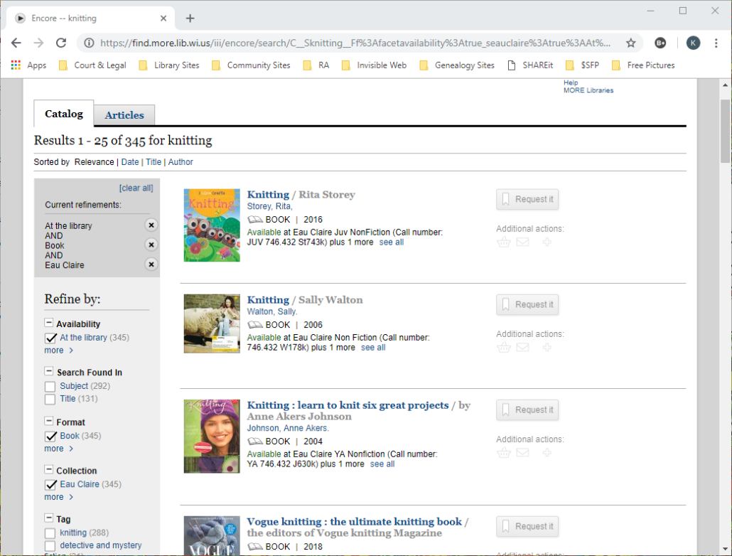 Refined search screenshot by availability, book format, and Eau Claire for location.