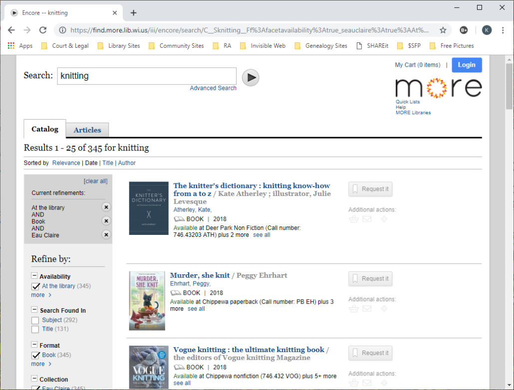 Screenshot of a refined search in MORE catalog by relevance.