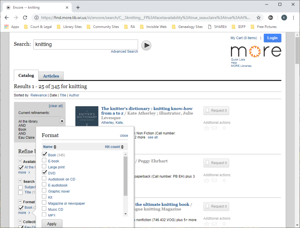 Screenshot of limiting in MORE catalog two formats of Book and DVD.