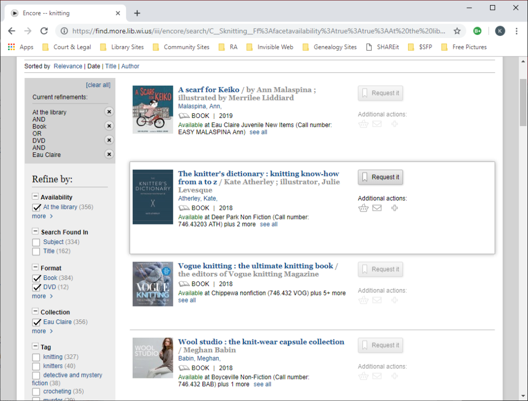 Screenshot  of MORE showing how to limit availability to items that are available right now.
