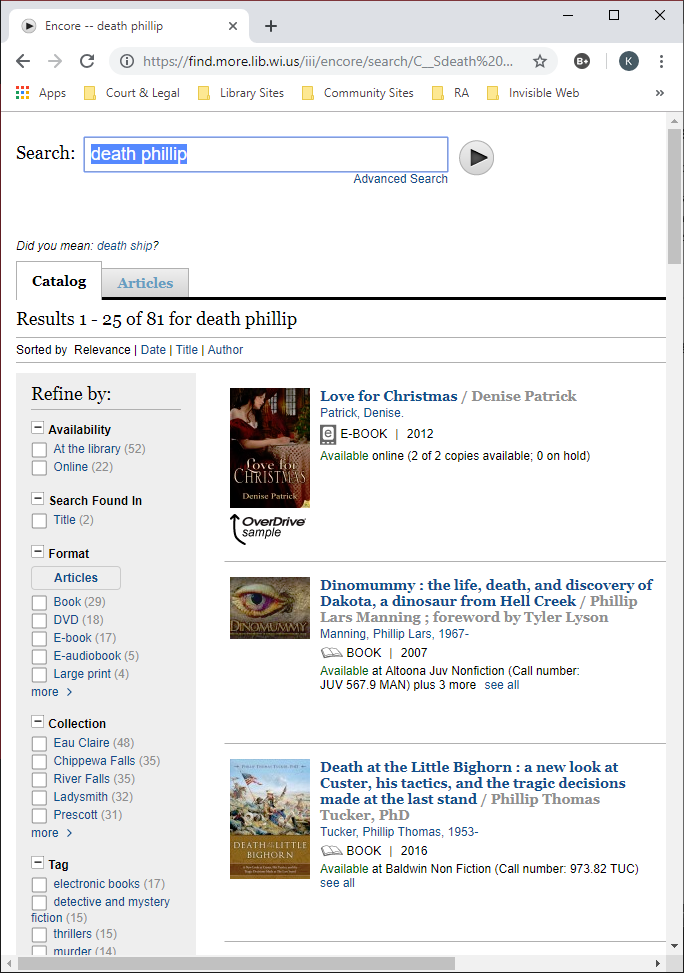 Shows library catalog results of searching for Death Phillip.