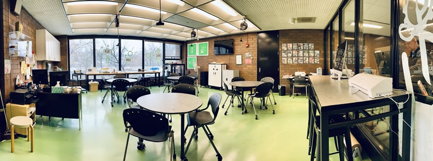 Panoramic view of library's Dabble Box makerspace.