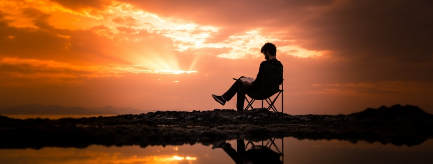 Reading by sunset