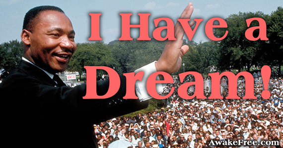 "Photograph of Martin Luther King, Jr. with the words ""I Have a Dream."""