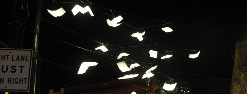 Books flying in the street