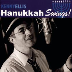Jazz singer Kenny Ellis is pictured singing into a studio microphone on the cover of the album Hanukkah Swings!