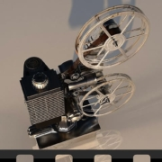 Depicts an old filmstrip projector
